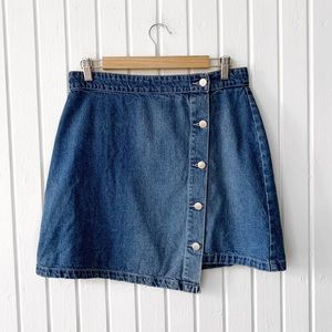 Mink Pink Denim Button Front Mini Skirt